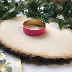 J.Crew Pink and Gold Enamel Bangle Bracelet